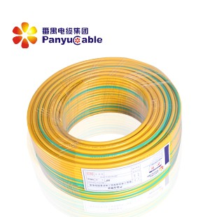 广州番禺电线电缆黄绿色 BV2.5平方国标单股铜芯家用电线 单芯硬线 100米