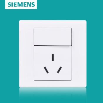 西门子开关插座面板 品宜系列 一开单控带三孔插座 16A