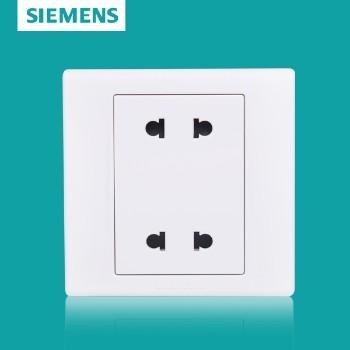 西门子开关插座面板 品宜系列 四孔扁圆两用插座 双联二插