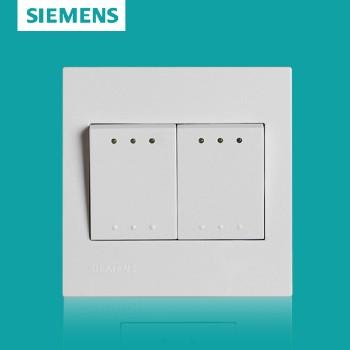 西门子开关插座面板 灵致白系列 双开双控带荧光开关