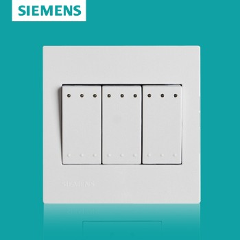西门子开关插座面板 灵致白系列 三开双控带荧光开关
