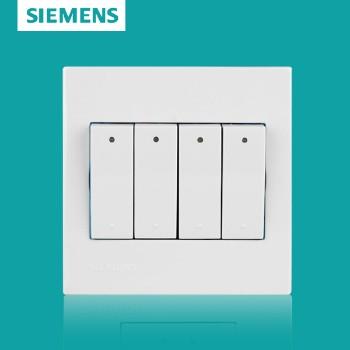 西门子开关插座面板 灵致白系列 四开单控带荧光开关
