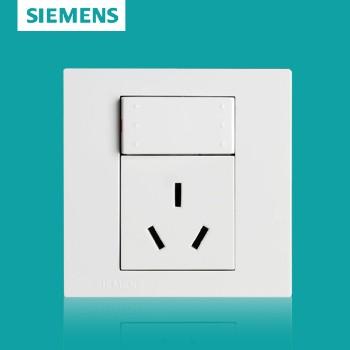 西门子开关插座面板 灵致白系列 一开单控带三孔插座 10A