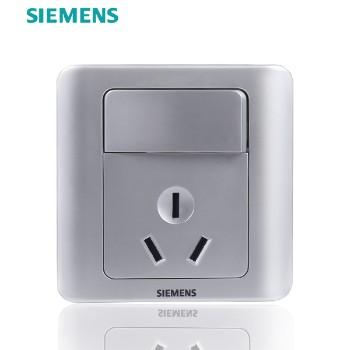 西门子开关插座面板 远景银系列 一开单控带三孔插座 16A
