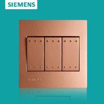 西门子开关插座面板 灵致金系列 三开单控带荧光开关
