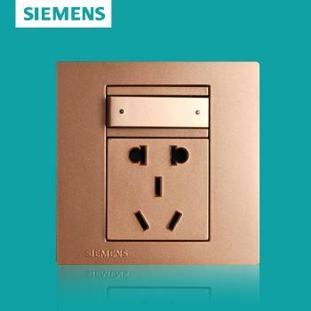 西门子开关插座面板 灵致金系列 一开单控带五孔插座