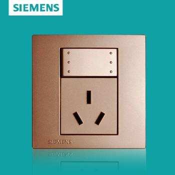 西门子开关插座面板 灵致金系列 一开单控带三孔插座 16A