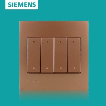 西门子开关插座面板 灵致金系列 四开单控带荧光开关