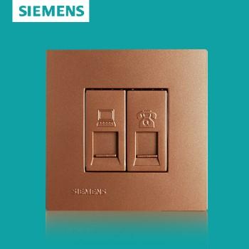 西门子开关插座面板 灵致金系列 电脑电话插座