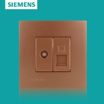 西门子开关插座面板 灵致金系列 电脑电视插座