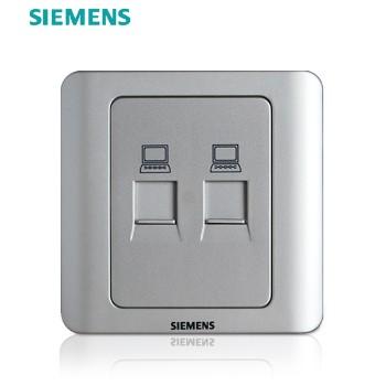 西门子开关插座面板 远景银系列 双电脑插座