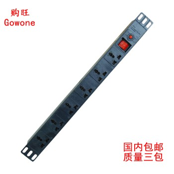 Gowone购旺 PDU机柜插座6位10A万用孔带过载插排插线板接线板GW-100试机专用