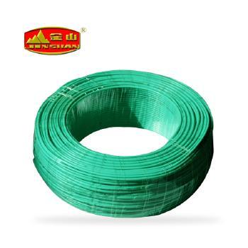 天津金山电线绿色 BV4平方铜芯国标电线100米