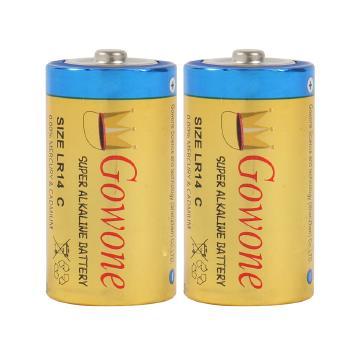 Gowone购旺 无汞环保碱性电池出口简装 2号电池 LR14 收音机电动玩具电池