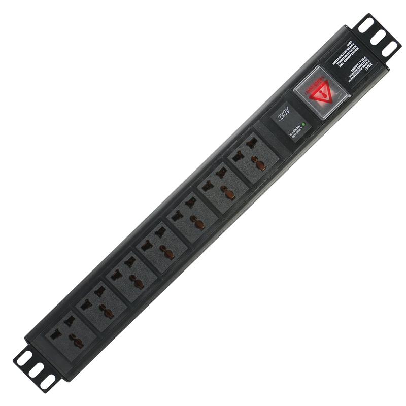 Gowone购旺 PDU机柜插座   10A工业插排  万用孔接线板 热插拔防雷滤波抗浪涌 1.5U 7位   W11