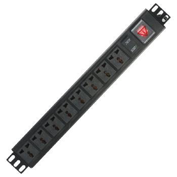 Gowone购旺 PDU机柜插座   10A工业插排  万用孔接线板 热插拔防雷滤波抗浪涌 1.5U 8位 W11B