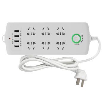 Gowone购旺 智能USB排插 儿童保护门插座 电源转换器/ 带开关插排插线板 6位3米防雷+4USB  U32