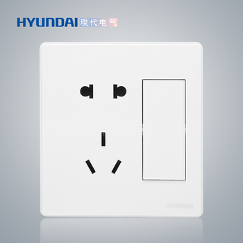 现代电气 开关插座面板 E50珍珠白系列 一位双控开关+二/三级插座