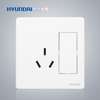 现代电气 开关插座面板 E50珍珠白系列 一位单控开关+16A三级插座