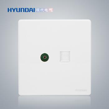 现代电气 开关插座面板 E50珍珠白系列 一位电视插座+一位电话插座