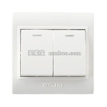德力西CD130明装开关插座 两联单控开关 二开单控开关