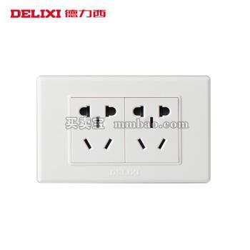 德力西电工 118型开关插座 二位十孔插座10孔 六孔电源二插6孔墙壁面板