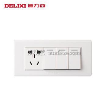 德力西118系列墙壁面板 三位 三开双控五孔 中号 3开一插三孔插座