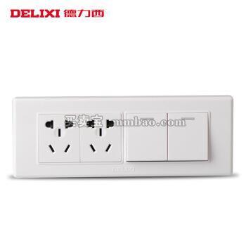 德力西电工 开关插座118型十孔电源二开单控开关 二开单加二插六孔面板