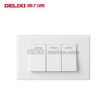 德力西电工 118型墙壁面板 小三开单控开关 二位3开单控三联 二位小号