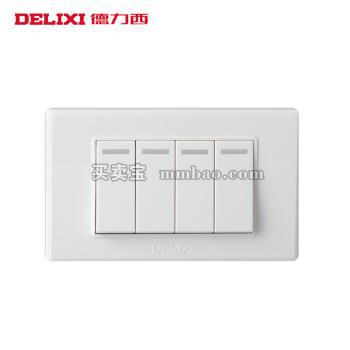 德力西电工 118系列墙壁面板 小四开双控开关 4开四联电源开关二位小号
