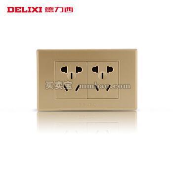 德力西118型开关插座面板 香槟金六孔二插6孔10A墙壁电源多孔暗装