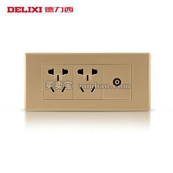 德力西电工 118型开关插座 香槟金面板有线电视二插六孔6孔 闭路十孔10孔