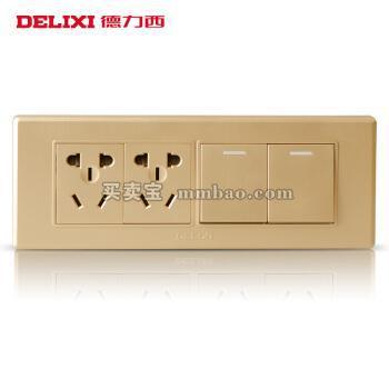 德力西电工 118型开关面板 香槟金二开双控二插十孔插座 四位二开六孔