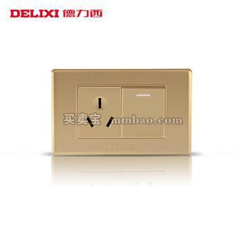 德力西118型开关插座 香槟金面板空调热水器插座 一开单三孔16A插座