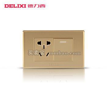 德力西118型开关插座 香槟金面板 一开双一插五孔电源 一开双五孔墙壁面板
