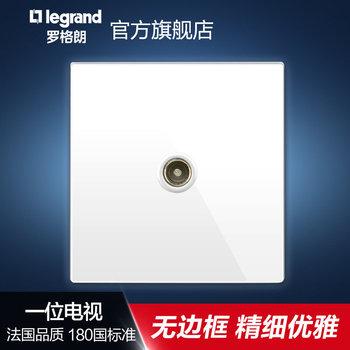 罗格朗开关 插座面板 逸景白色 一位单电视有线电视 信号电源 86型