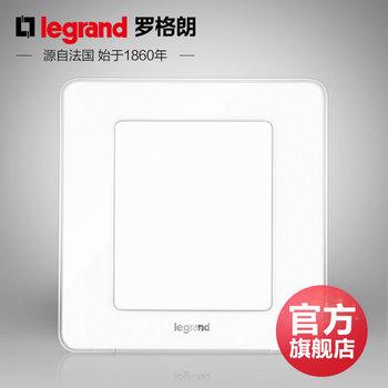 罗格朗开关 插座面板 逸典冰莹白色 空白面板 墙壁电源 86型