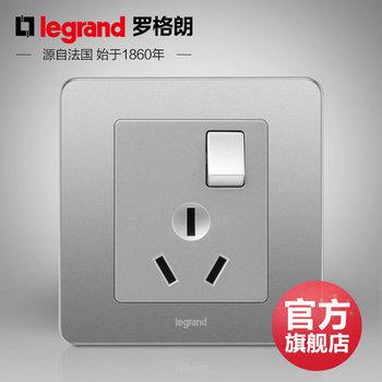 罗格朗开关 插座面板 逸典醇砂钢 三孔16A带开关空调插座 墙壁电源 86型