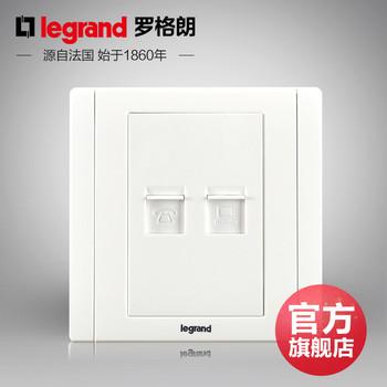 罗格朗开关 插座面板 美涵白色   二位电话电脑  信号电源  86型  美涵白色
