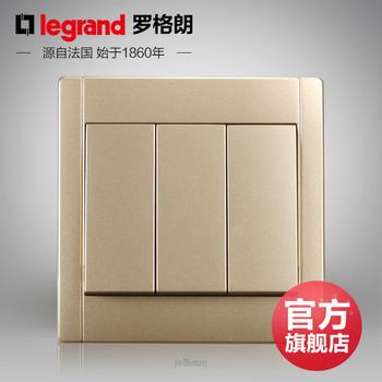 罗格朗开关 插座面板 美涵金色  三开单控  墙壁电源  86型  美涵金色