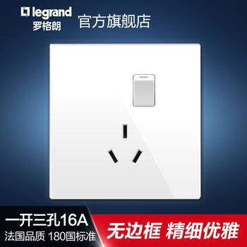 罗格朗开关 插座面板 逸景白色 三扁插三孔16A带开关空调插座 墙壁电源 86型