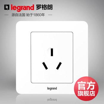 罗格朗开关 插座面板 逸典圆白色 三孔16A空调插座 墙壁电源 86型