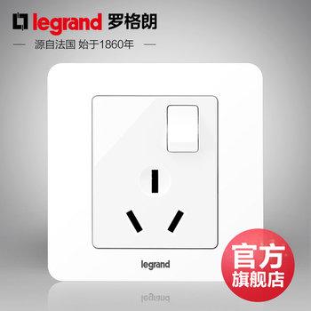 罗格朗开关 插座面板 逸典圆白色 三孔16A带开关空调插座 墙壁电源 86型