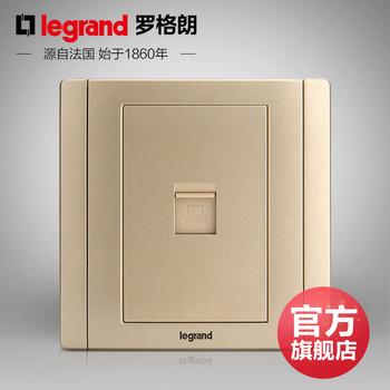罗格朗开关 插座面板 美涵金色  一位单电脑网络  信号电源  86型 美涵金色