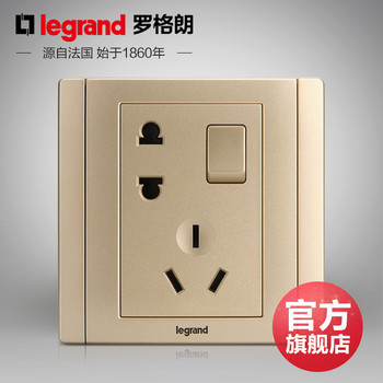 罗格朗开关 插座面板 美涵金色  二三插五孔带一开单控  墙壁电源  86型  美涵金色