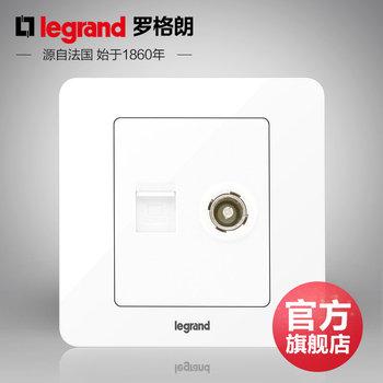 罗格朗开关 插座面板 逸典圆白色 二位电脑电视网络 信号电源 86型
