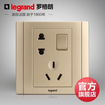 罗格朗开关 插座面板 美涵金色  二三插五孔带一开双控   墙壁电源  86型  美涵金色