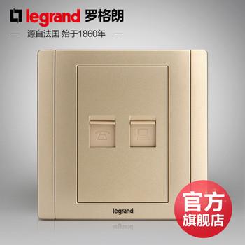 罗格朗开关 插座面板 美涵金色  二位电话电脑网络   信号电源  86型  美涵金色