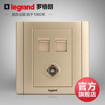罗格朗开关 插座面板 美涵金色  三位电脑电话电视网络   信号电源  86型 美涵金色