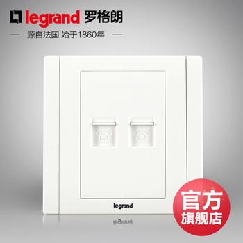 罗格朗开关 插座面板 美涵白色   二位电话双语音  信号电源  86型  美涵白色